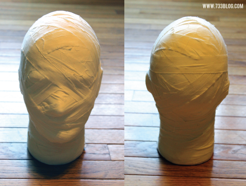 DIY Mummy Head Halloween Decor