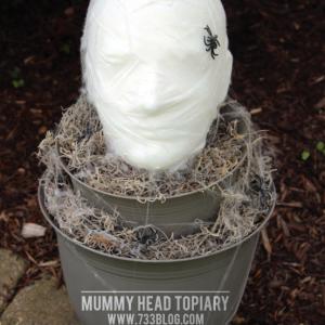 DIY Foam Head Mummy Topiary - Perfect for Halloween!