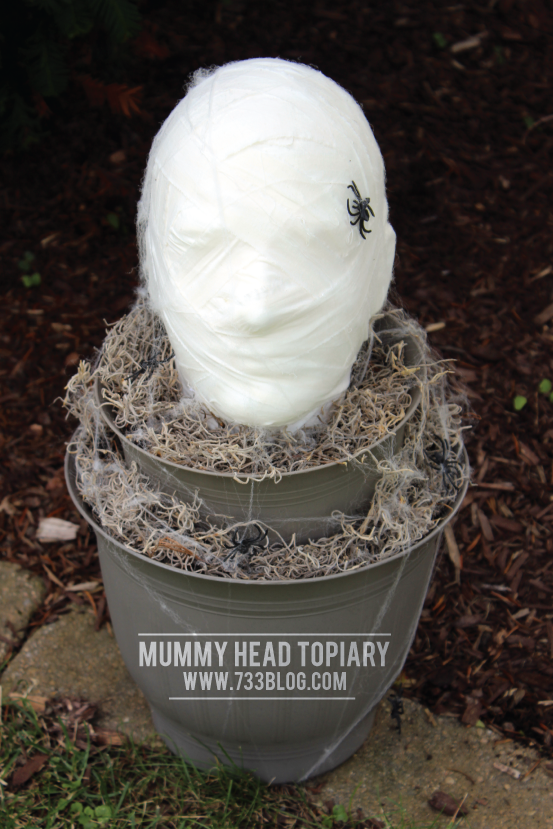 DIY Foam Head Mummy Topiary - Perfect for Halloween!