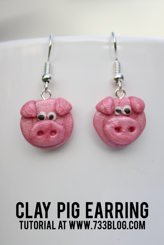 DIY Clay Pig Earrings