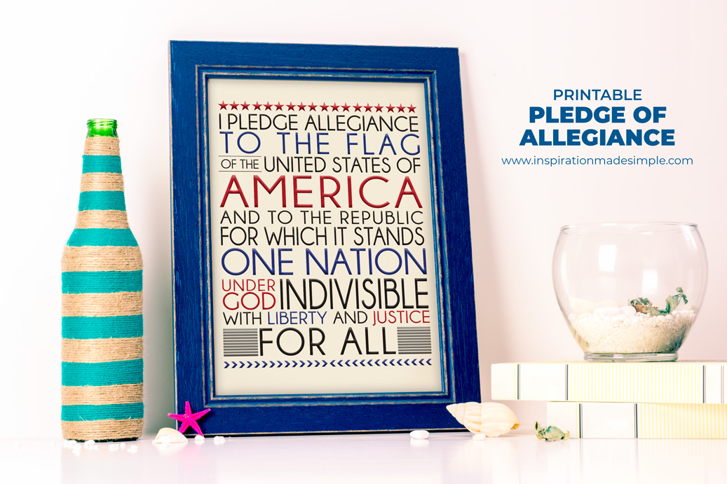 Printable Pledge of Allegiance Frameable Home Decor