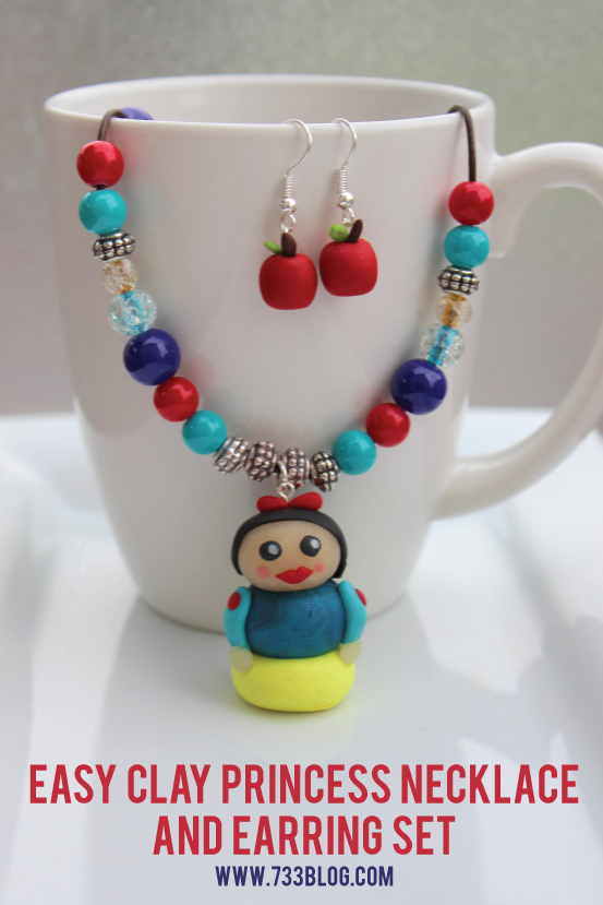 Easy Clay Snow White Pendant and Apple Earrings