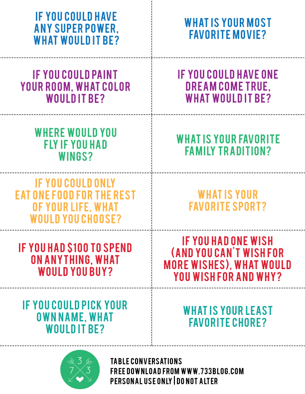 Dinner Table Conversation Starters Free Printable