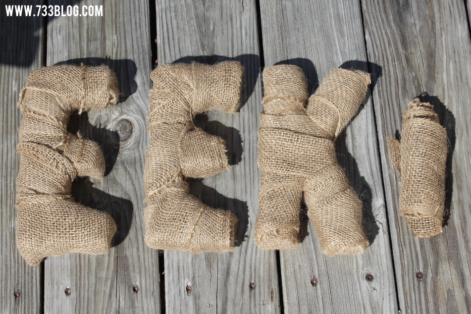 DIY Burlap Wrapped Letters