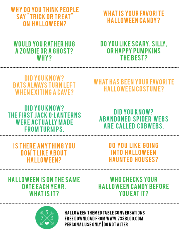 Halloween Themed Conversation Starters