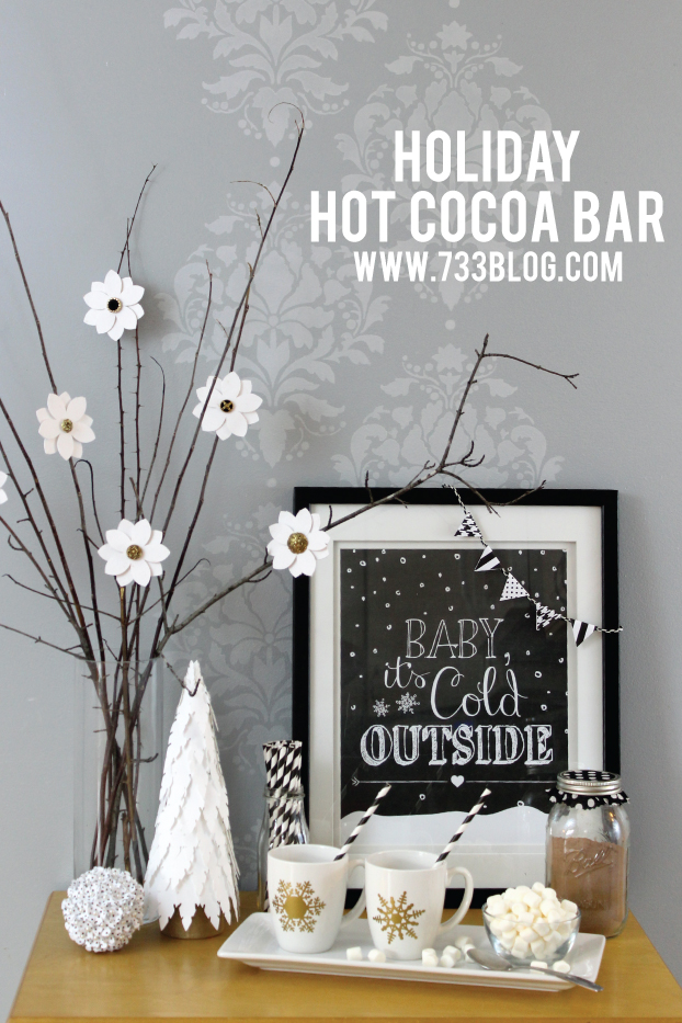 Simply Elegant Black, White and Gold Holiday Hot Chocolate Bar - I MUST have one in my house this year!