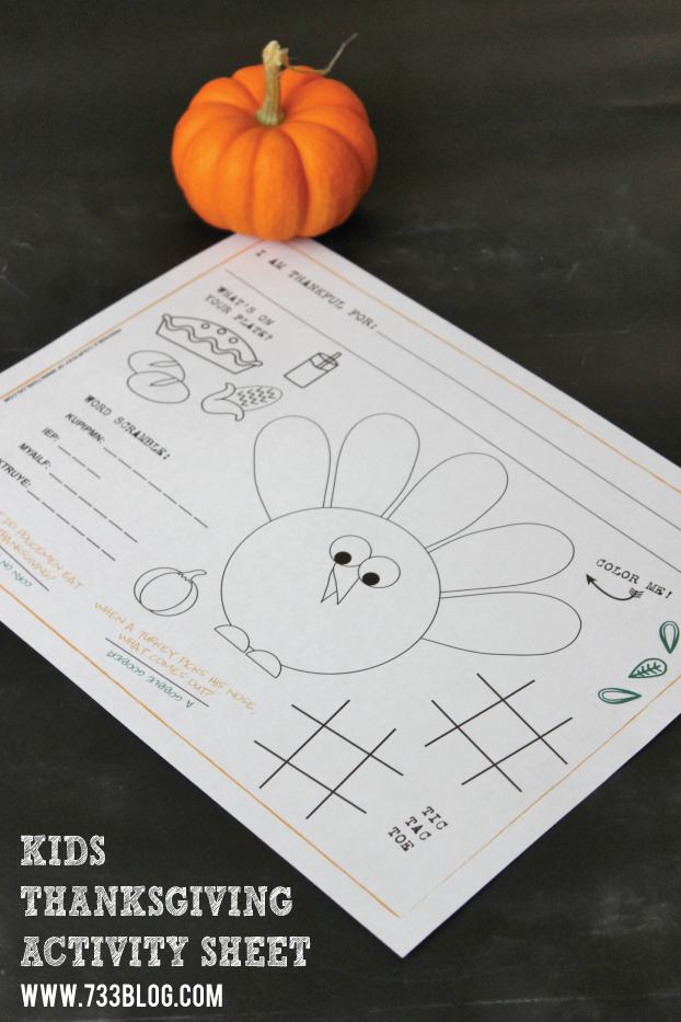 Thanksgiving Kids Activity Sheet