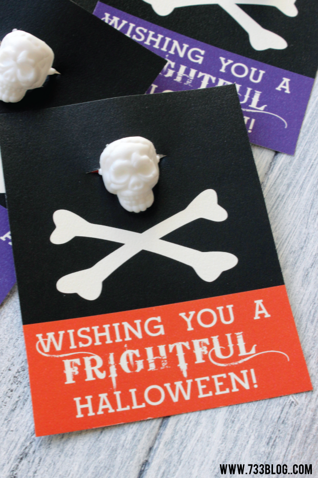 Free Printable Halloween Cards - Attach a Halloween Ring and you have a fun, non-candy treat!