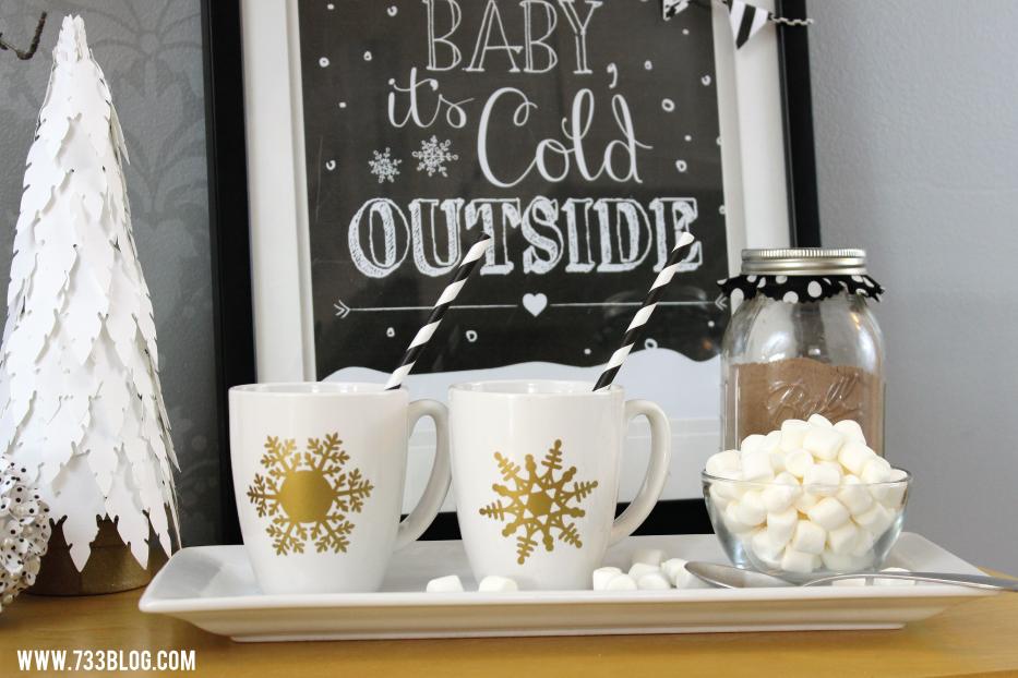 DIY Gold Snowflake Holiday Mugs
