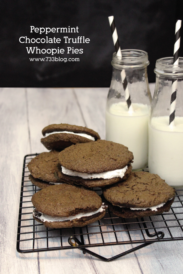 Peppermint Chocolate Truffle Whoopie Pies
