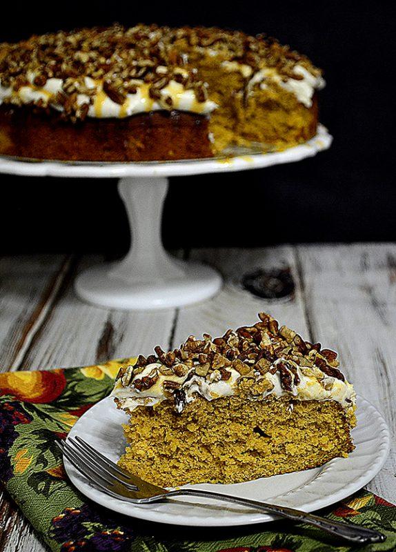 Pumpkin pie cake w cream cheese frosting 1