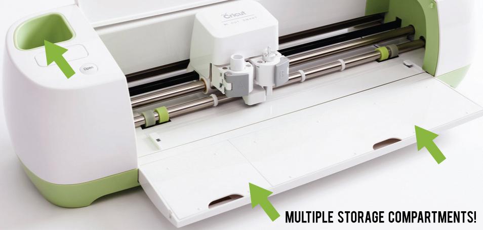 Cricut Explore has multiple storage compartments built INTO the machine!