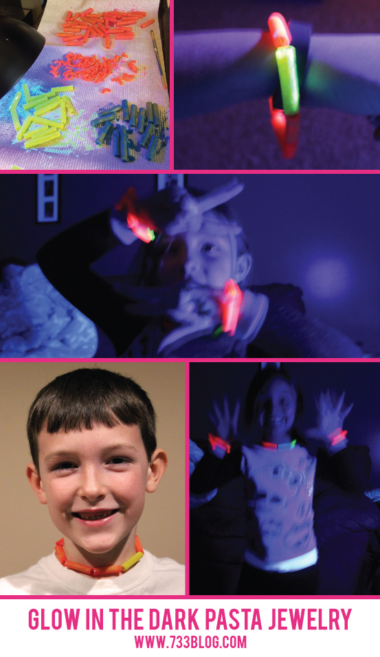 Glow in the Dark Pasta Jewelry - tons of fun in the dark and looks good in light too! Great fun for kids on a rainy/snowy evening!