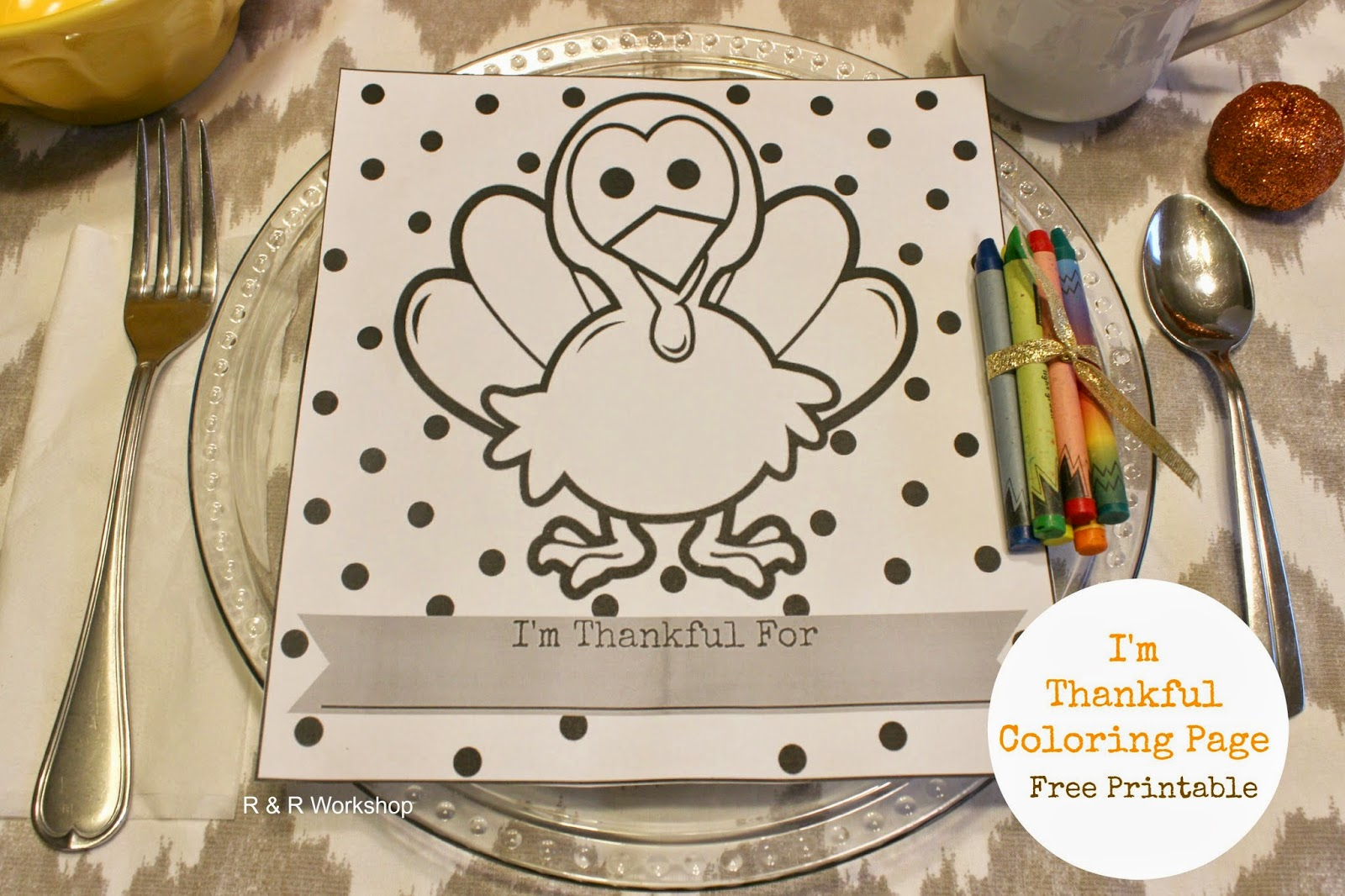 I Am Thankful Thanksgiving Printable Kids Activity Sheet
