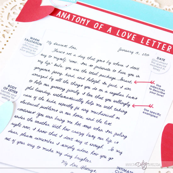 The Anatomy of a Great Love Letter - help bring back the spark with this great printable pack