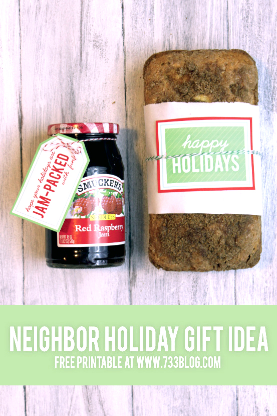 Baked goods neighbor gift idea with printable tags