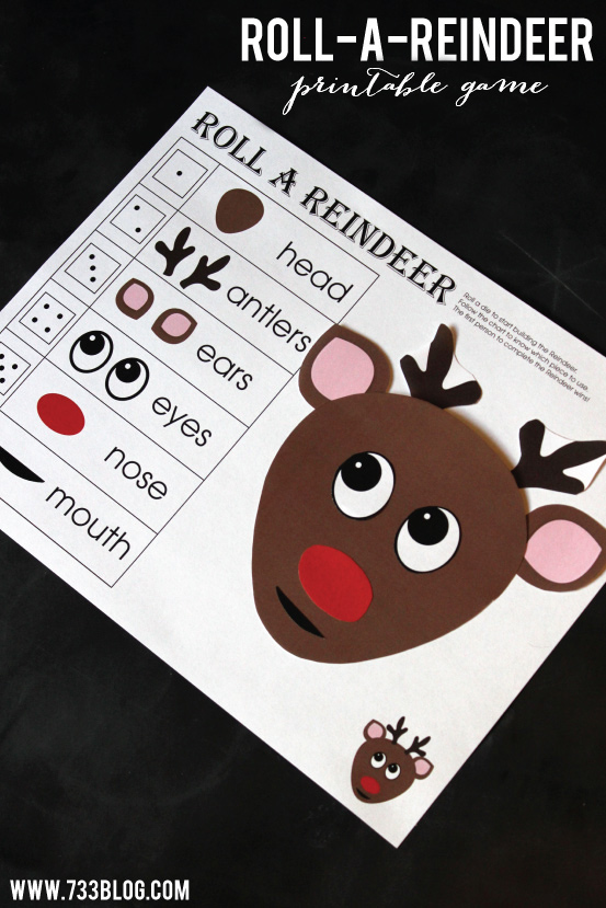 Roll-a-Reindeer Printable Game
