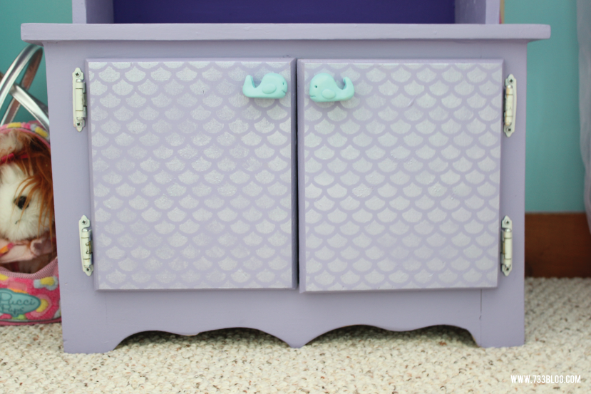 DIY Scallop Stencil and Clay Whale Knobs