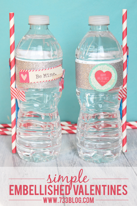 Shake things up this Valentine's Day with a DIY Embellished Valentine's Day Water Bottle and Juice Packet #OneSpotValentine #AmericanCrafts