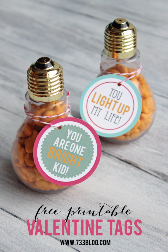 Lightbulb Valentine Idea with Free Printable Tags