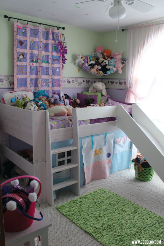 Little Girls Room with Loft Bed and Slide