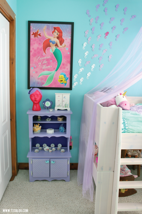 Mermaid Themed Room with Sea Horse Wall