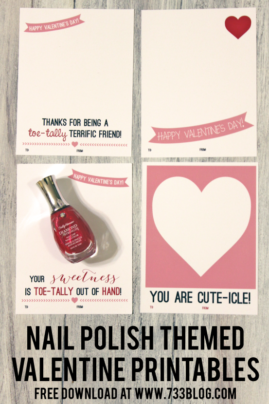 Nail Polish Themed Valentine's Day Cards