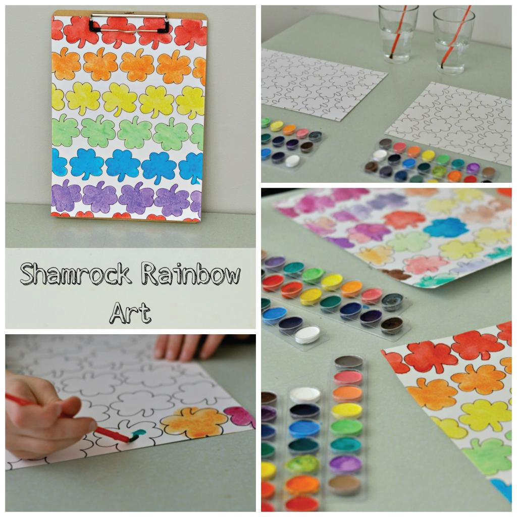 Shamrock Rainbow Art with Free Printable