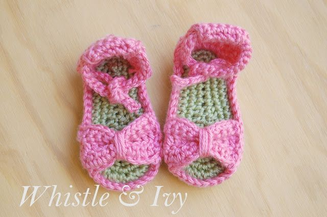 Crochet Bow Baby Sandals by Whistle and Ivy