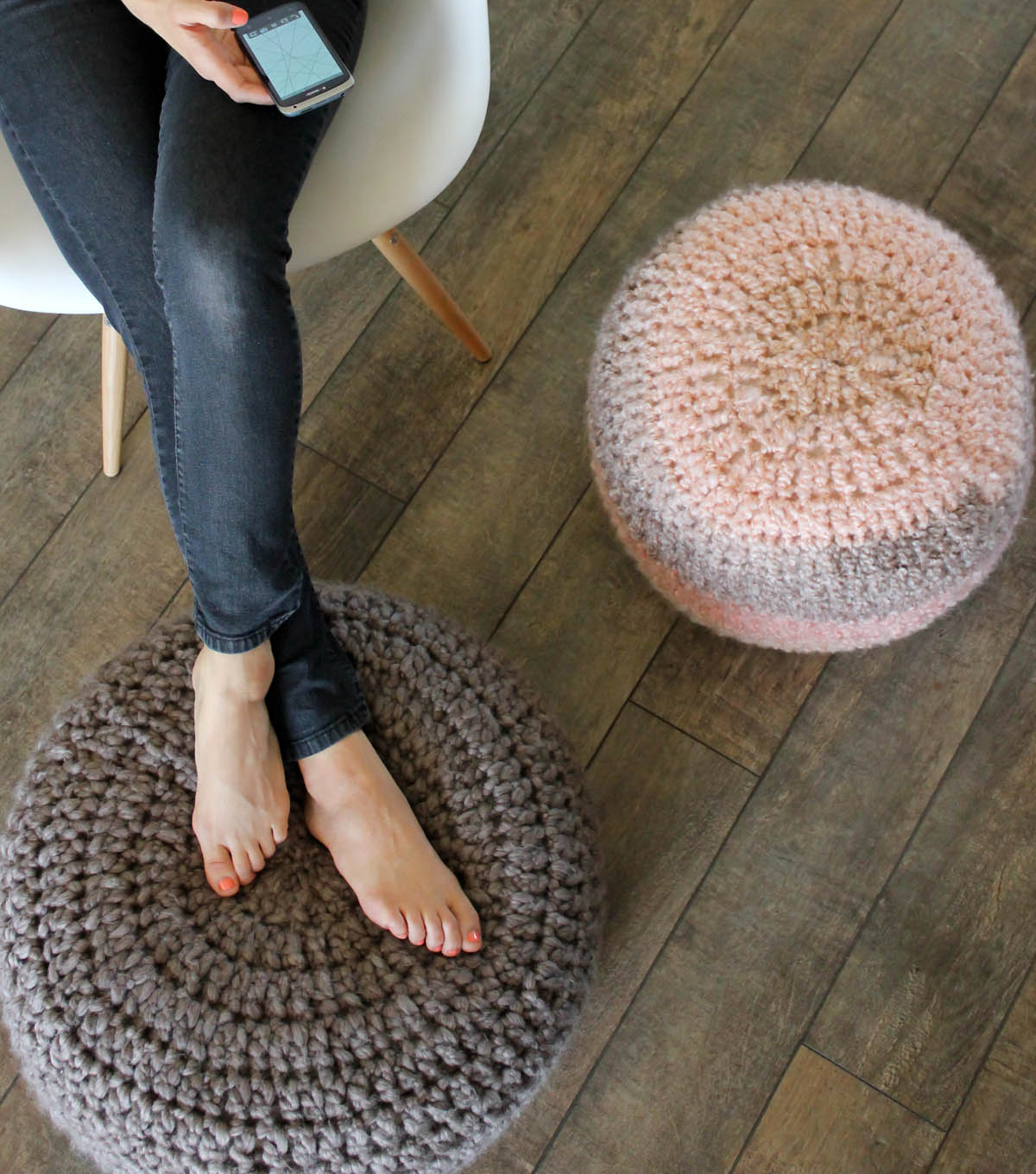 Crochet Pouf by Delia Creates for Joann Fabric