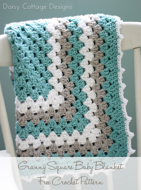 Crochet Granny Square Baby Blanket from Daisy Cottage Designs