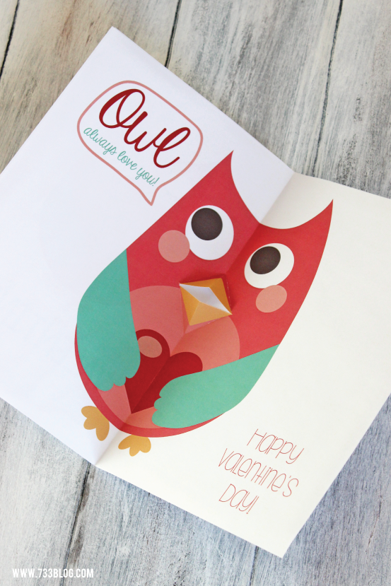 Printable Pop-Up Owl Valentine's Day Card