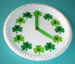 Paper Plate Shamrock Clock
