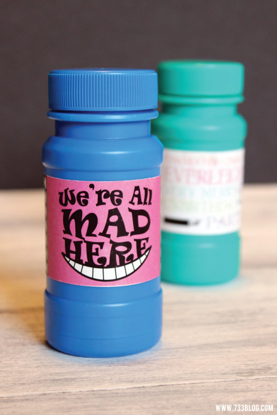 Alice in Wonderland Bubble Labels Free Printable
