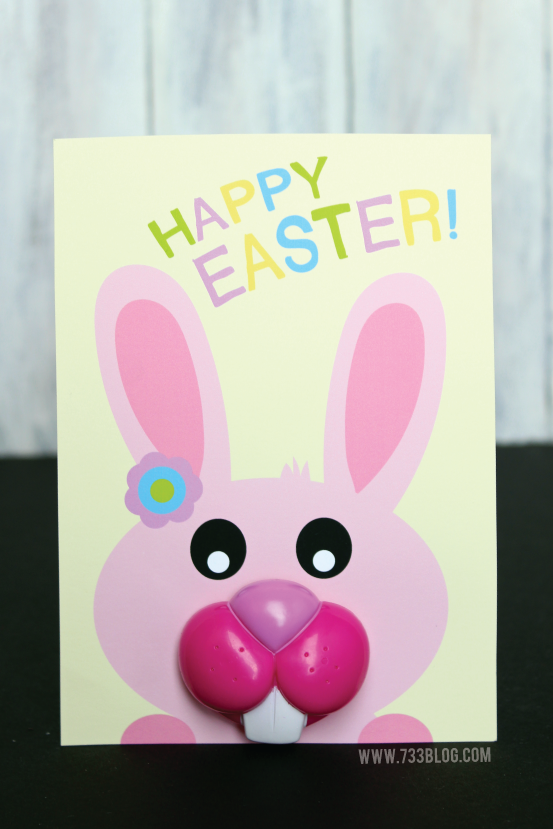 Free Printable Easter Bunny Mouth Lollipop Card
