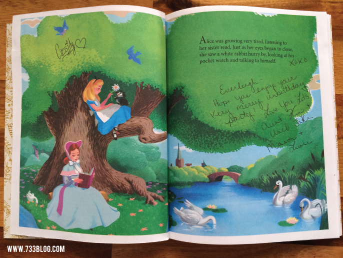 Alice in Wonderland Party - use a child's book as the guest book! Great idea!