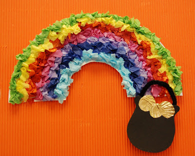 Paper Plate Tissue Paper Rainbow