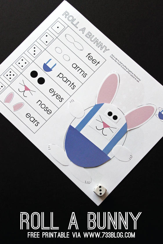 Roll-a-Bunny Printable Game