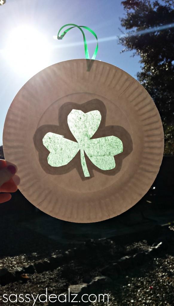 Paper Plate Shamrock Suncatcher