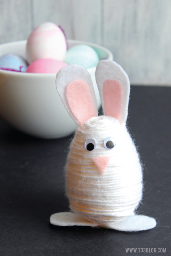 Yarn Wrapped Easter Egg Bunny