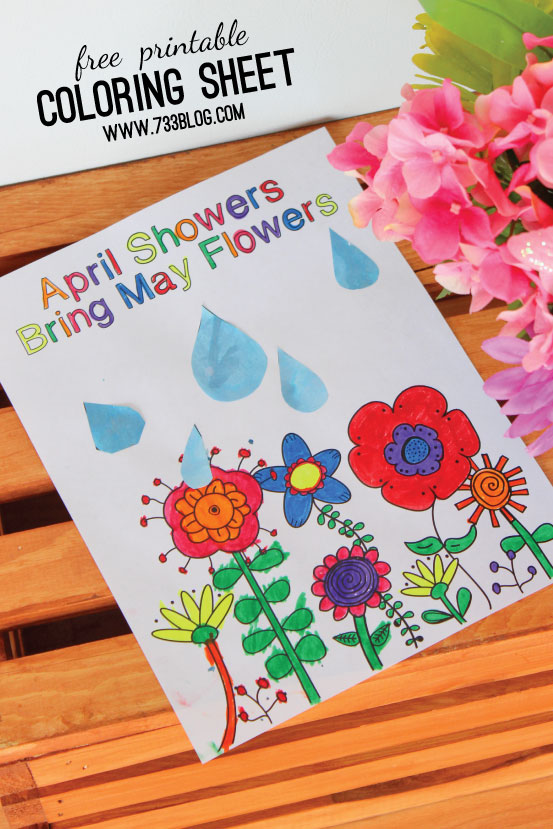 April Showers Bring May Flowers Coloring Sheet