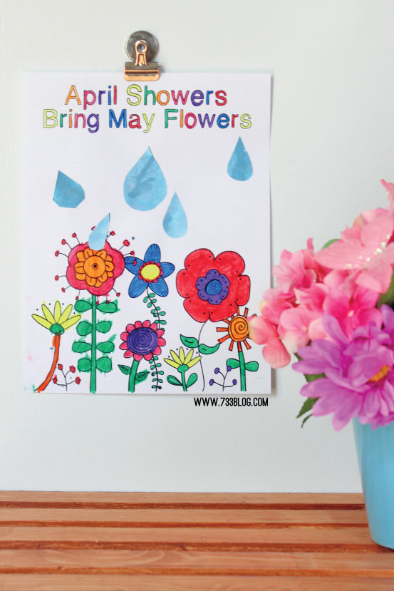 April Showers Bring May Flowers Printable Kids Craft