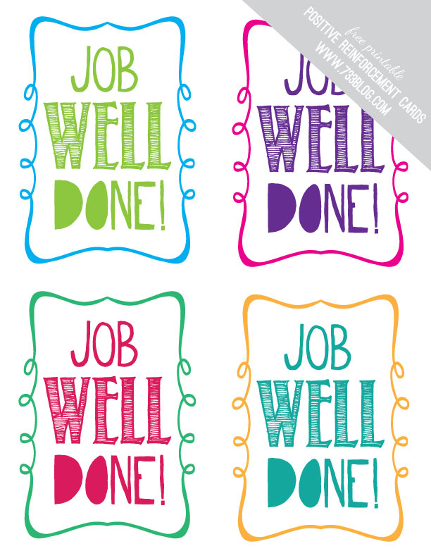 Job Well Done - Free Printable Positive Reinforcement Cards