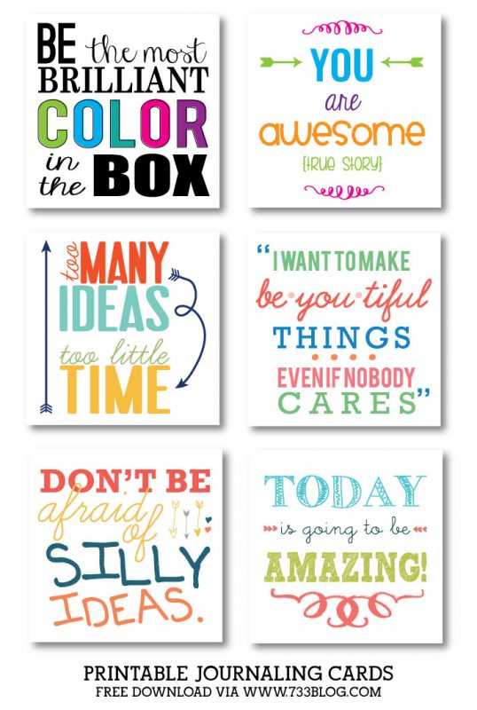 Printable Journaling Cards from @733blog
