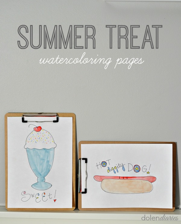 Summer Treats Watercoloring Pages