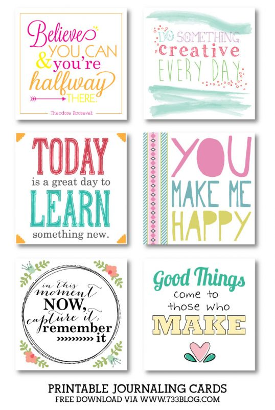 Printable Journal Cards - Collection 2