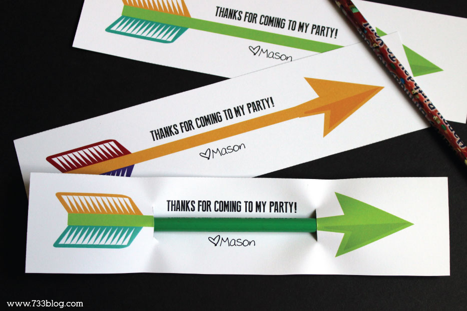Printable Archery Party Favors