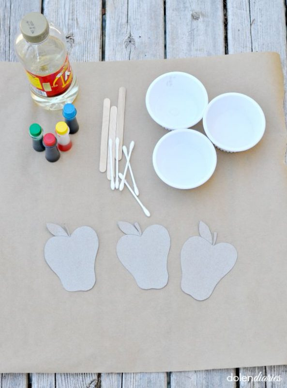 Painting Cardboard Apples Kids Craft