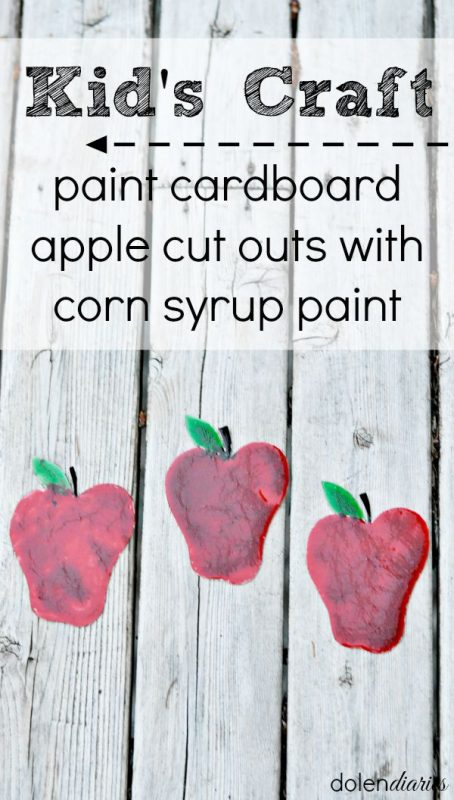 kids craft glossy painted cardboard apples
