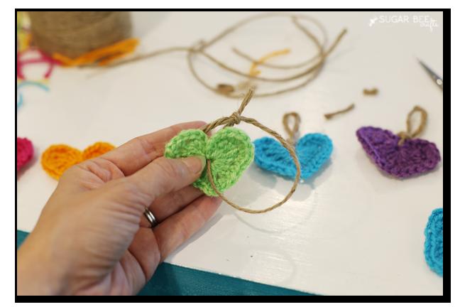 Crochet Rainbow Heart Garland